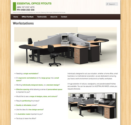 Essential Office Fitouts website