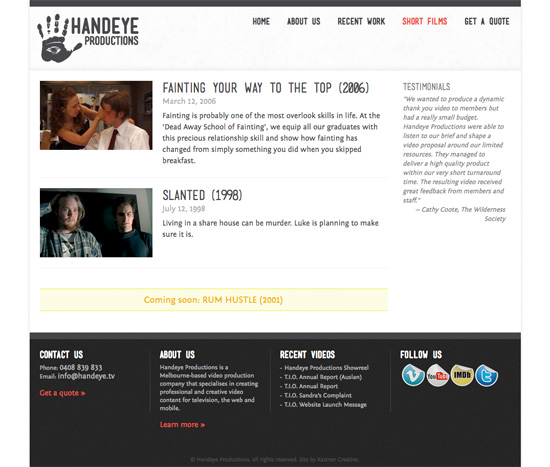 Handeye Productions website